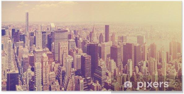 Plakat Vintage stonowanych Manhattan Skyline o zachodzie słońca, NYC, USA. - Podróże