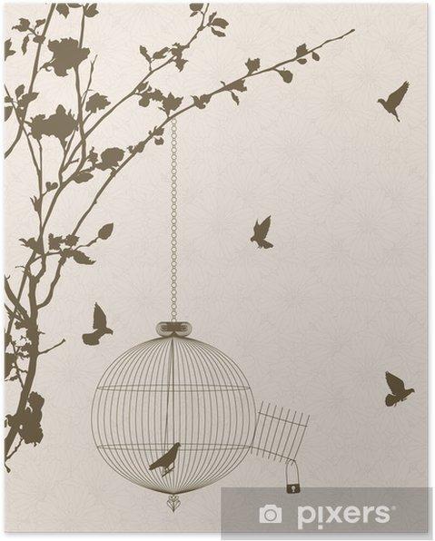 Plakát Vintage styl karta s ptačích siluet a birdcage - Pozadí