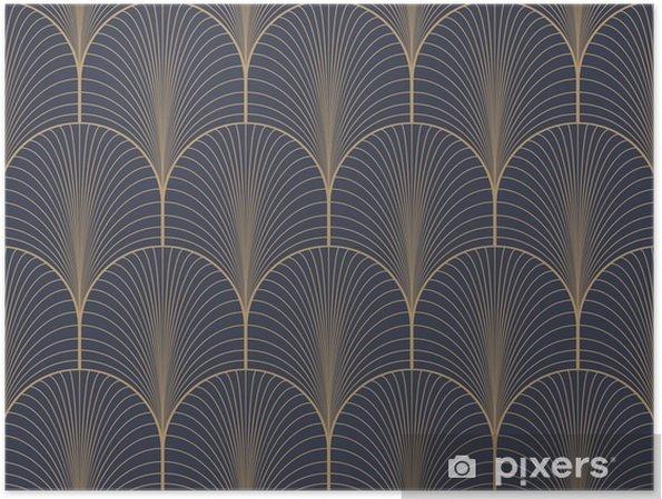 Plakat Vintage tan niebieski i brązowy w stylu art deco szwu wektor wzór tapety - Zasoby graficzne