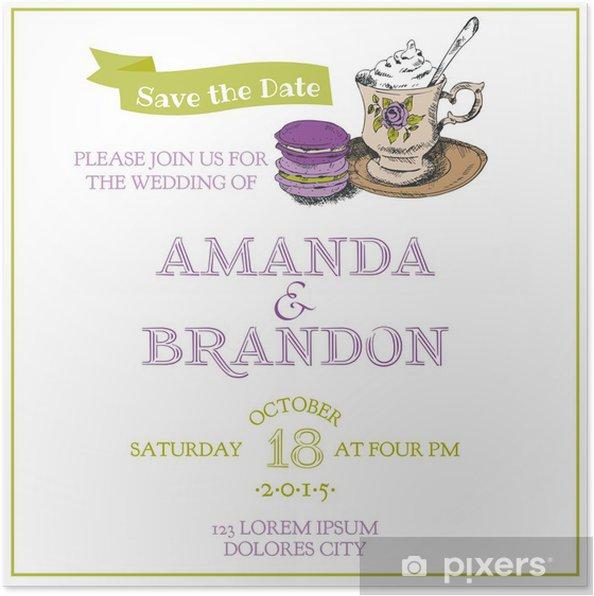 Plakat Vintage Wedding Invitation Card Makaronik I Tea Theme