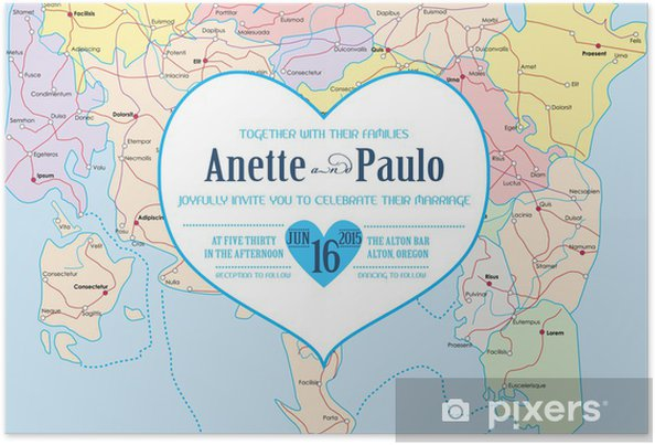 Plakat Vintage Wedding Invitation Card Theme Travel Atlas W Wektorze