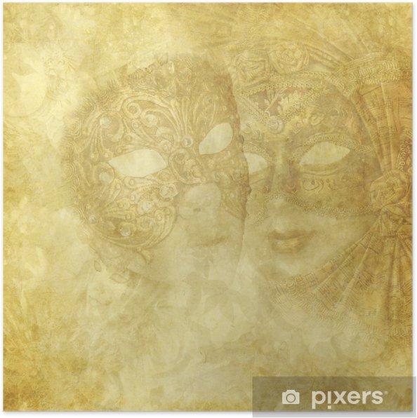Plakat Vintage weneckie maski na złotym tle kwiatów - Święta międzynarodowe