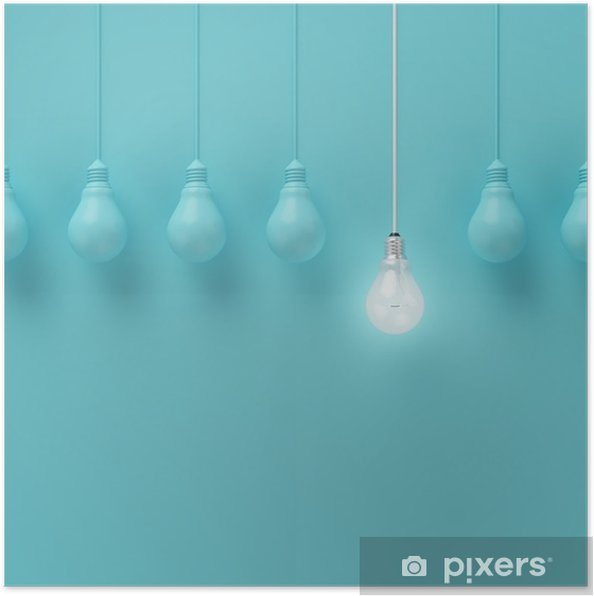 Plakát Visí žárovky s zářící jednu jinou představu o světle modrém pozadí, minimální koncept nápad, ploché laické uživatele, nahoře - Podnikání