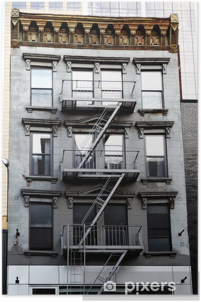 Plakát Vnější požární schodiště, New York - Americká města