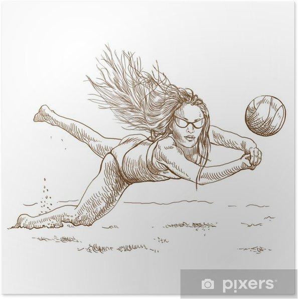Plakat Volejbalovy Hrac Plazovy Volejbal Plnohodnotna Rucni