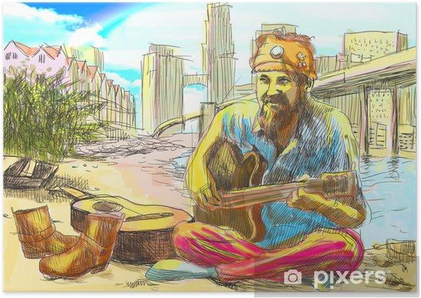 Plakat Vousaty Muz Hippie Hrat Na Kytaru Plne Velikosti Rucni