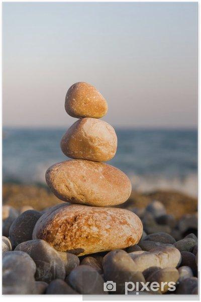 Plakát Vyvážené kameny na moři - Voda