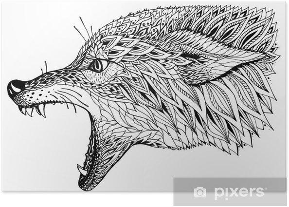 Plakát Vzorované hlavou vlka. Tribal etnické totem, tetování design. - Savci
