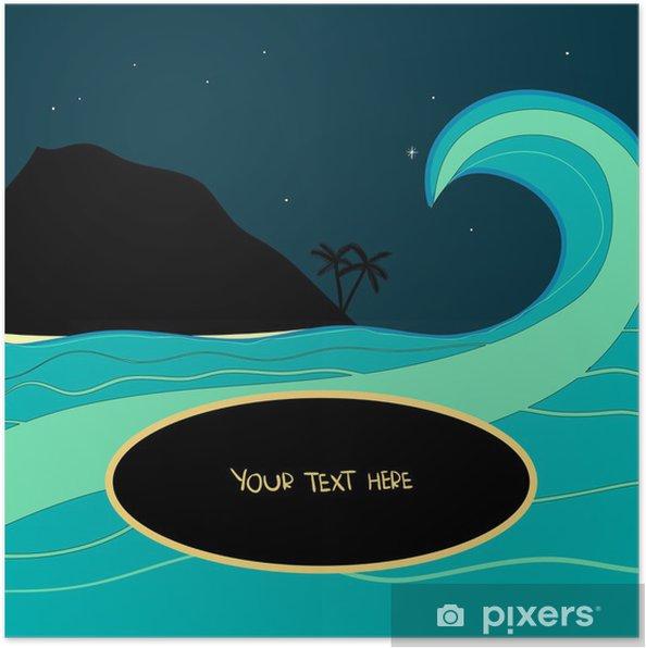 Plakat W nocy fala tropikalnych - Wakacje