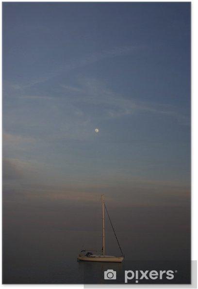 Plakat W świetle księżyca - Transport wodny