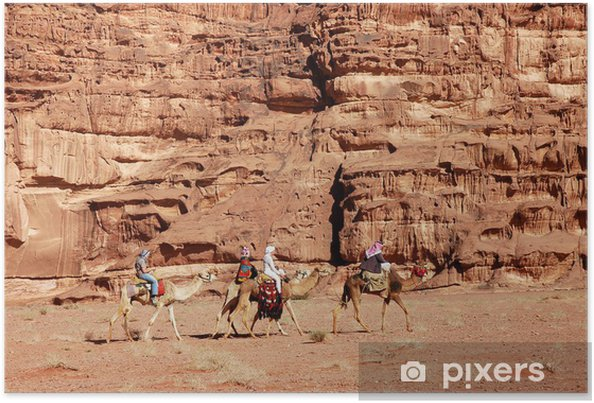 Plakat Wadi Rum wielbłąda safari, Jordania. - Pustynie