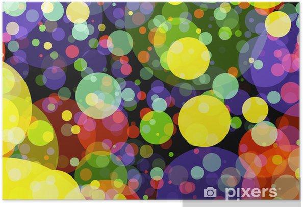 Plakat Wakacje manycolored rundy bokeh tła w chaotycznym arrangem - Tła