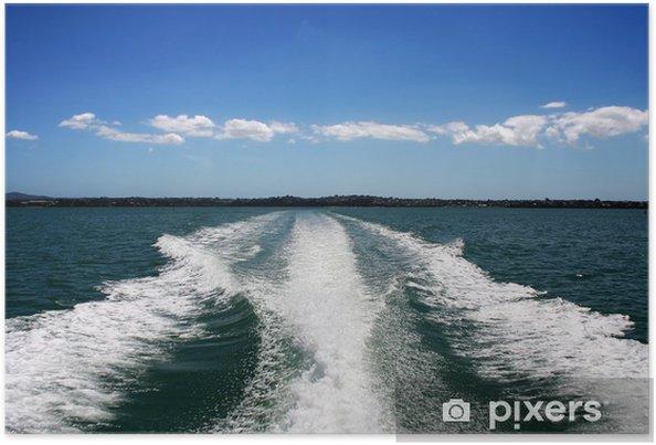 Plakat Wake łodzi na Oceanie zielony - Transport wodny