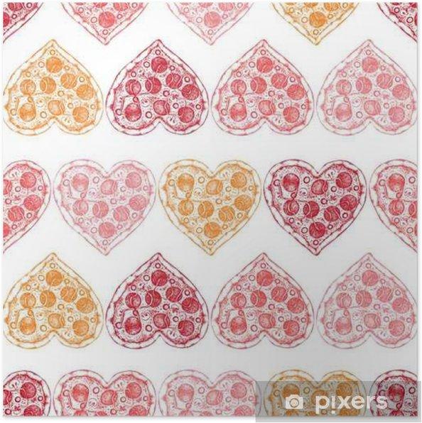 Plakat Walentynki tle wyciągnąć rękę szkic pizzy. Jednolite wzór z rocznika żywności ilustracji. - Religia i kultura