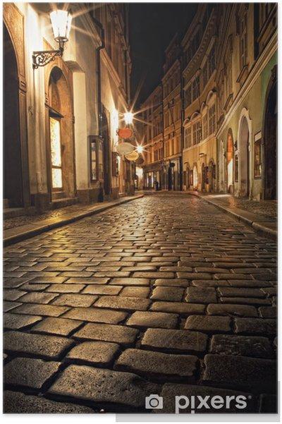 Plakat Wąska uliczka z latarniami w Pradze na noc - Praga