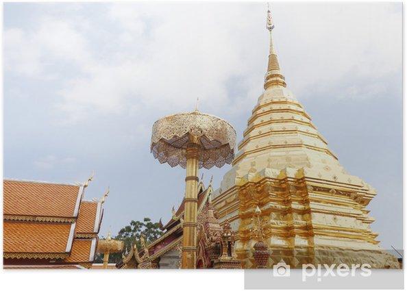 Plakat Wat Phra That Doi Suthep w Chaingmai Tajlandii - Azja