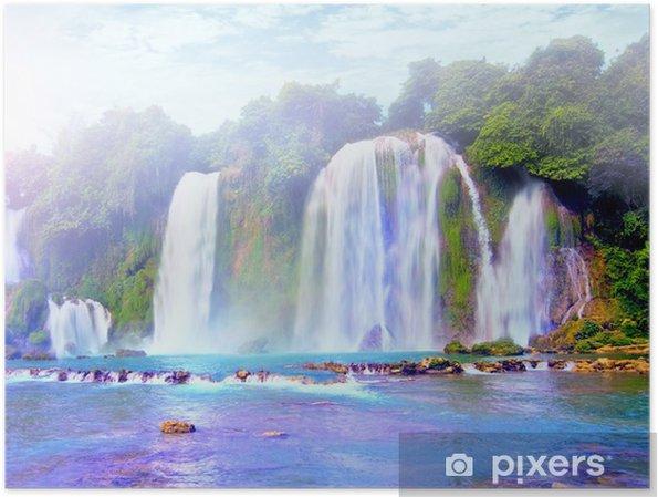 Plakát Water fall ve Vietnamu, jihovýchodní Asie vody pádu krásnejch zemí - Asie