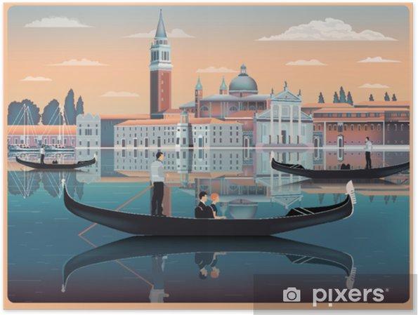 Plakat Wcześnie rano w wenecji, we włoszech. szablon podróży lub pocztówki. wszystkie budynki są różnymi obiektami. ręcznie rysunek wektorowej. zabytkowy styl. - Podróże