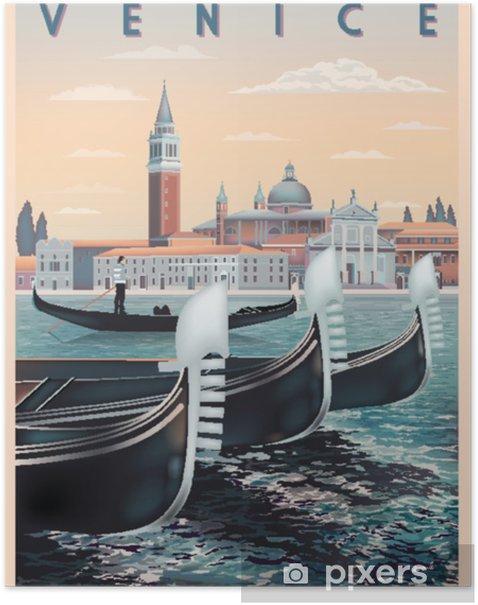 Plakat Wcześnie rano w wenecji, we włoszech. szablon podróży lub pocztówki. wszystkie budynki są różnymi obiektami. ręcznie rysunek wektorowej. zabytkowy styl. - Hobby i rozrywka