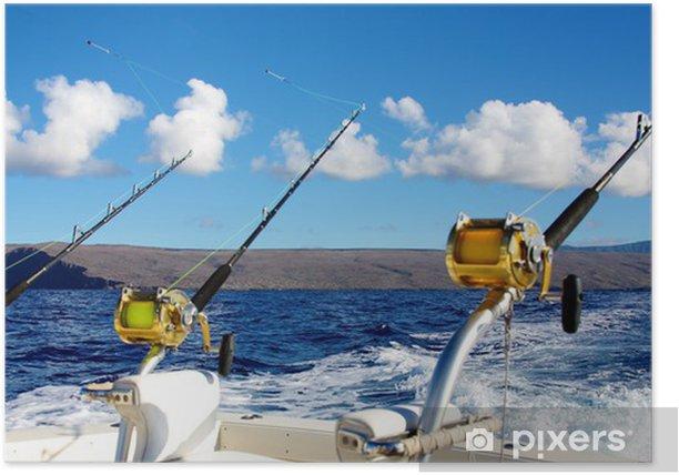 Plakat Wędkarstwo morskie na Hawajach - Sporty na świeżym powietrzu