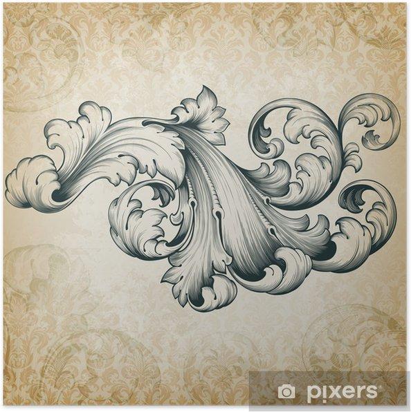 Plakat Wektor archiwalne barokowy kwiatowy wzór przewijania - Tematy