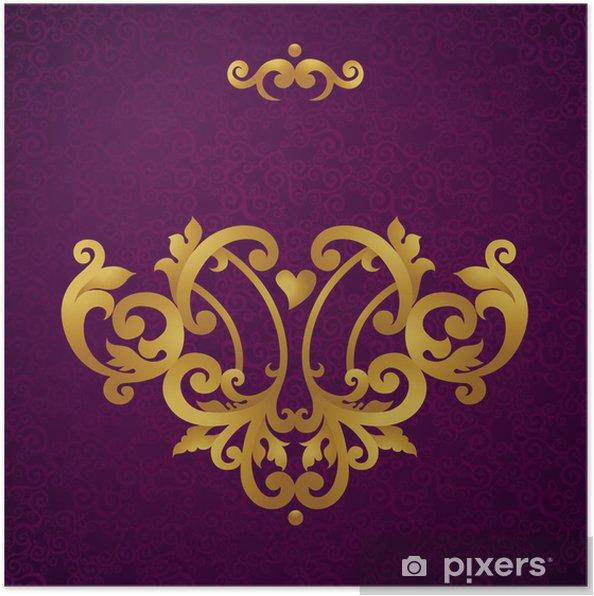 Plakat Wektor barokowy ornament w stylu wiktoriańskim. ozdobny elementem. - Tła