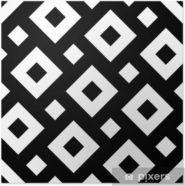 Plakat Wektor Bez Szwu Nowoczesny Geometria Kwadraty Czarne I Białe Abstrakcyjne Geometryczne Tło Druk Poduszki Monochromatycznych Retro Tekstury