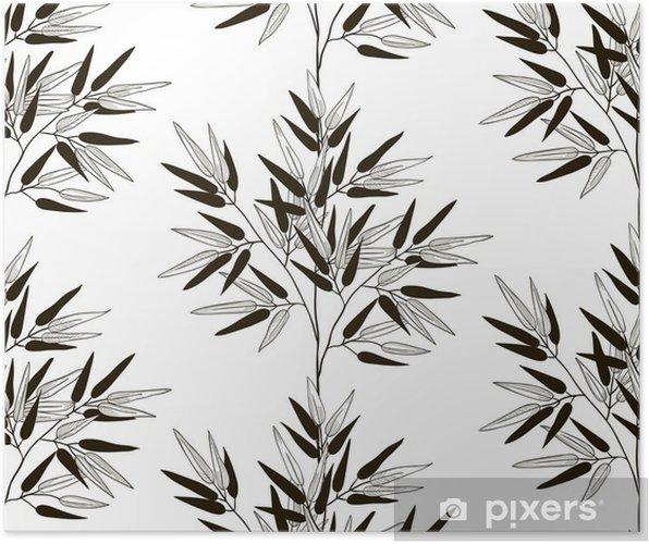 Plakat Wektor czarny wzór z ciągnione liści bambusa - Rośliny i kwiaty