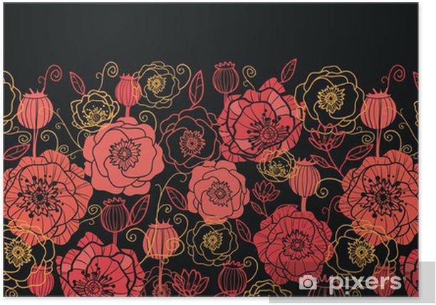 Plakat Wektor czerwone i czarne kwiaty maku bez szwu ozdoba poziomy - Kwiaty