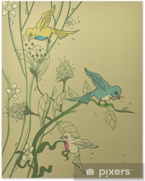 Plakat Wektor drzewo z kolorowych ptaków i kwiatów - Fikcyjne zwierzęta