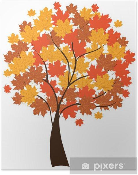 Plakat Wektor klon jesienią - Pory roku