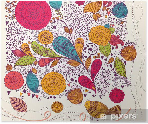 Plakat Wektor kwiatów kolorowe tło - Święta Narodowe