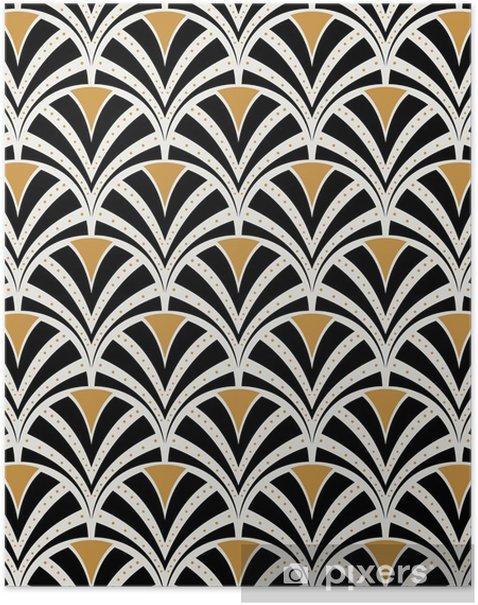 Plakat Wektor kwiatowy secesja szwu. geometryczne dekoracyjne liście tekstur. retro stylowy tło. - Zasoby graficzne