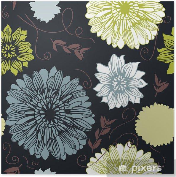 Plakat Wektor tła z ręcznie rysowane kwiatów. (Bezszwowe wzór) - Tła
