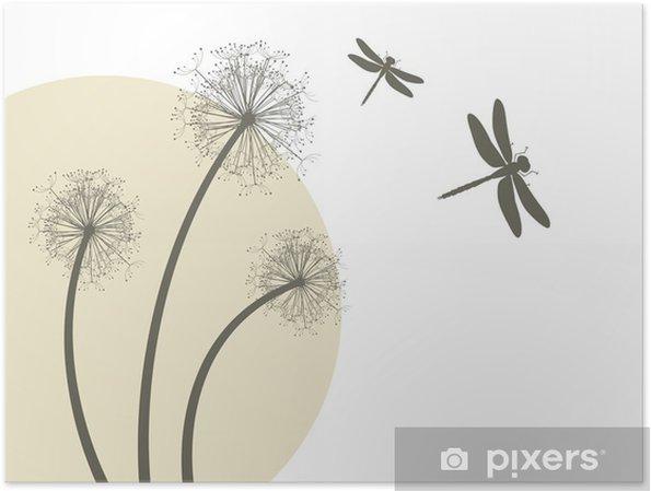 Plakat Wektor wiosna - mlecze i ważki - Życie
