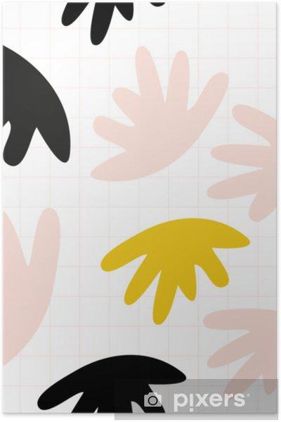 Plakat Wektor wzór z abstrakcyjnymi organicznymi kształtami w pastelowych kolorach i prostym geometrycznym tle. - Zasoby graficzne