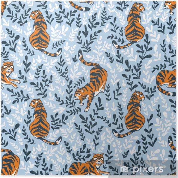 Plakat Wektor wzór z tygrysami na tle kwiatów. tło zwierzęce do projektowania tkaniny lub tapety boho. - Zasoby graficzne