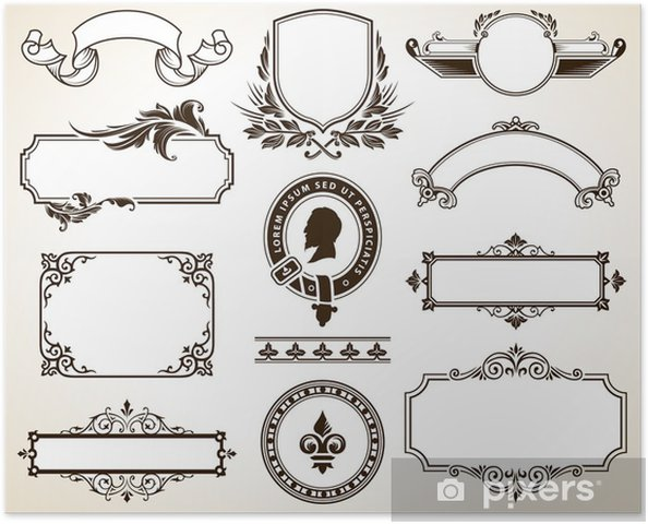 Plakat Wektor zestaw ozdobnych ramek i elementy projektu kaligraficzne - Tekstury
