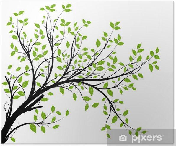 Plakat Wektor zestaw - zielony gałęzi i liści dekoracyjne - Style