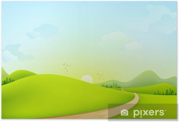Plakat Wektor zielony krajobraz słoneczny poranek - Sztuka i twórczość