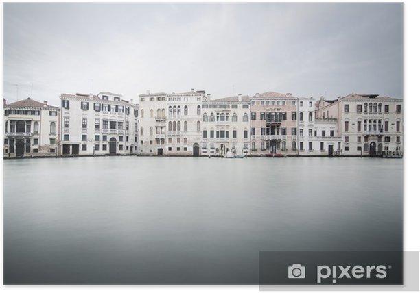 Plakat Wenecja szczegółowo pałac, Grand Canal długa ekspozycja - Miasta europejskie