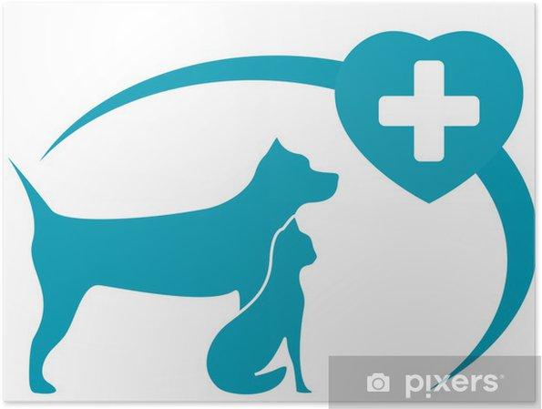 Plakat Weterynaryjnych Symbol Z Pedigreed Psa Kota Na Białym Tle