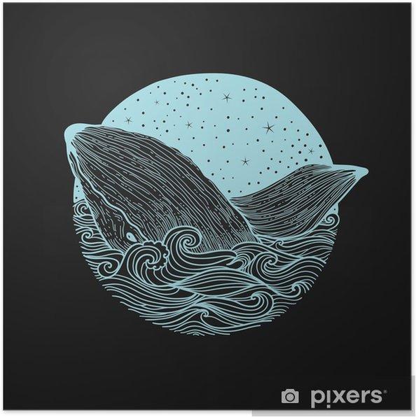 Plakat Whale skoków z fal na tle nocnego nieba i gwiaździste fale curl z elementami doodle zentangle, projektowanie do druku odzieżowym, karty, zaproszenia, druk cover.isolated na białym tle - Zwierzęta
