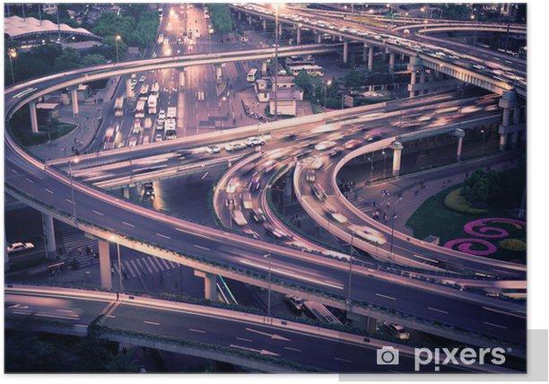 Plakat Wiadukt noc w Szanghaju - Infrastruktura