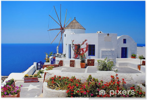 Plakat Wiatrak na wyspie Santorini, Grecja - Santorini