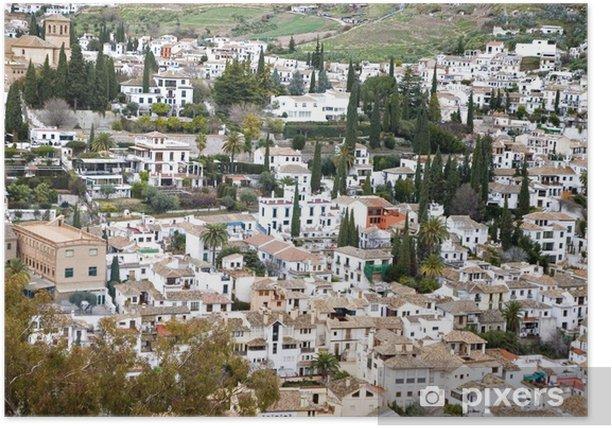 Plakat Widok Granada z Alhambra twierdzy miasta - Europa