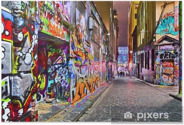 Plakat Widok kolorowe graffiti grafika na Hosier Lane w Melbourne - iStaging