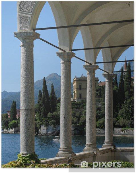 Plakat Widok na Jezioro Como z villa Monastero. Włochy - Tematy