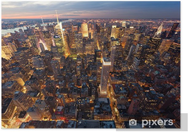 Plakat Widok na Manhattan z lotu ptaka -