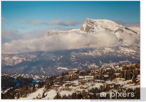 Plakat Widok na ośrodek narciarski Chamonix we francuskich Alpach, Francja - Wakacje